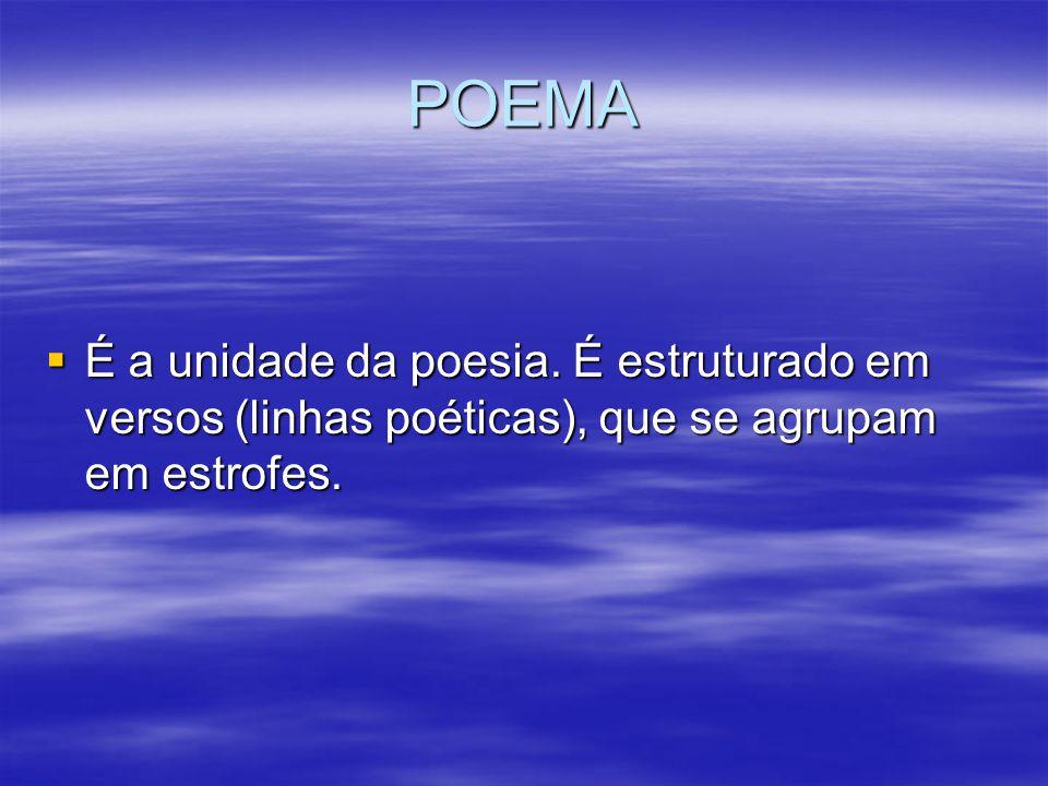 POEMA É a unidade da poesia. É estruturado em versos (linhas poéticas), que se agrupam em estrofes. É a unidade da poesia. É estruturado em versos (li