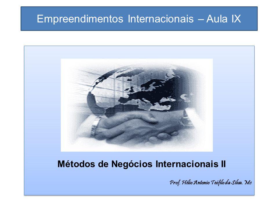 Empreendimentos Internacionais – Aula IX Métodos de Negócios Internacionais II Prof. Hélio Antonio Teófilo da Silva. Ms Métodos de Negócios Internacio