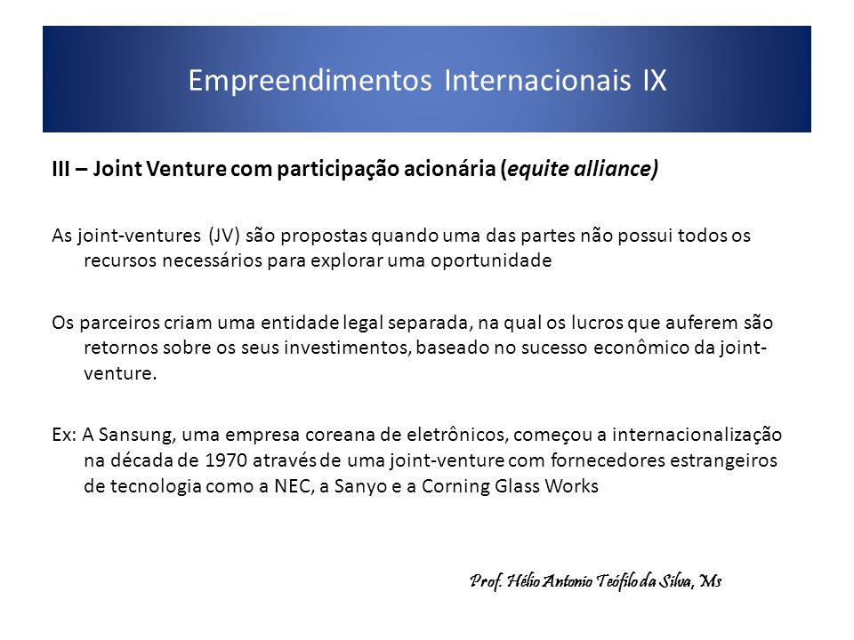 Empreendimentos Internacionais IX III – Joint Venture com participação acionária (equite alliance) As joint-ventures (JV) são propostas quando uma das partes não possui todos os recursos necessários para explorar uma oportunidade Os parceiros criam uma entidade legal separada, na qual os lucros que auferem são retornos sobre os seus investimentos, baseado no sucesso econômico da joint- venture.