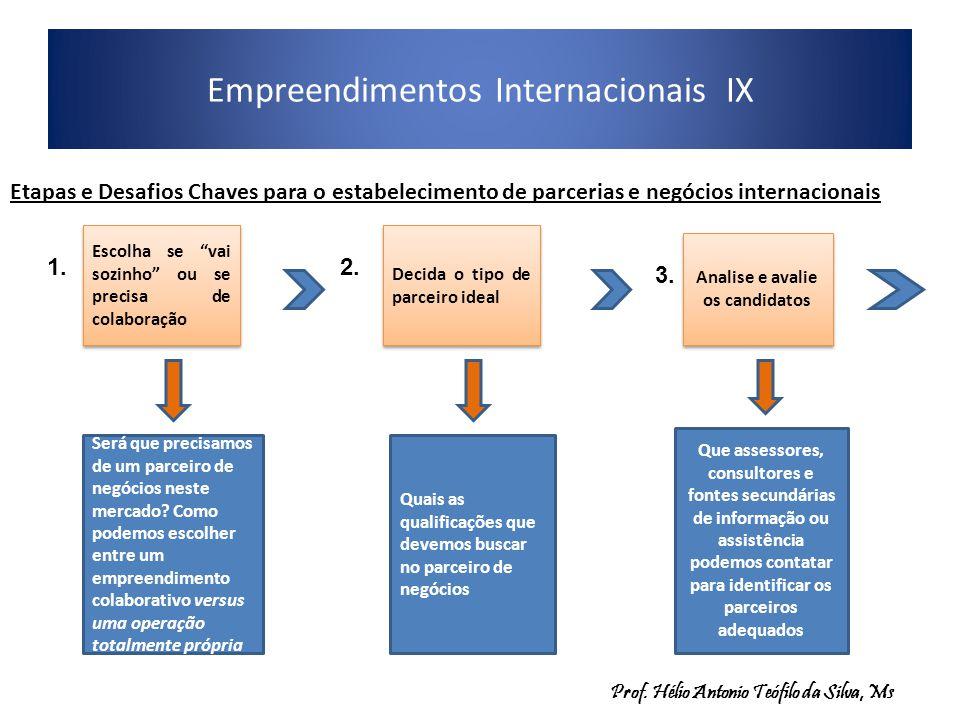 Empreendimentos Internacionais IX Etapas e Desafios Chaves para o estabelecimento de parcerias e negócios internacionais Escolha se vai sozinho ou se precisa de colaboração Será que precisamos de um parceiro de negócios neste mercado.