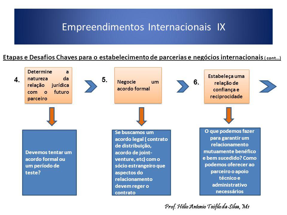 Empreendimentos Internacionais IX Etapas e Desafios Chaves para o estabelecimento de parcerias e negócios internacionais ( cont...) Determine a nature