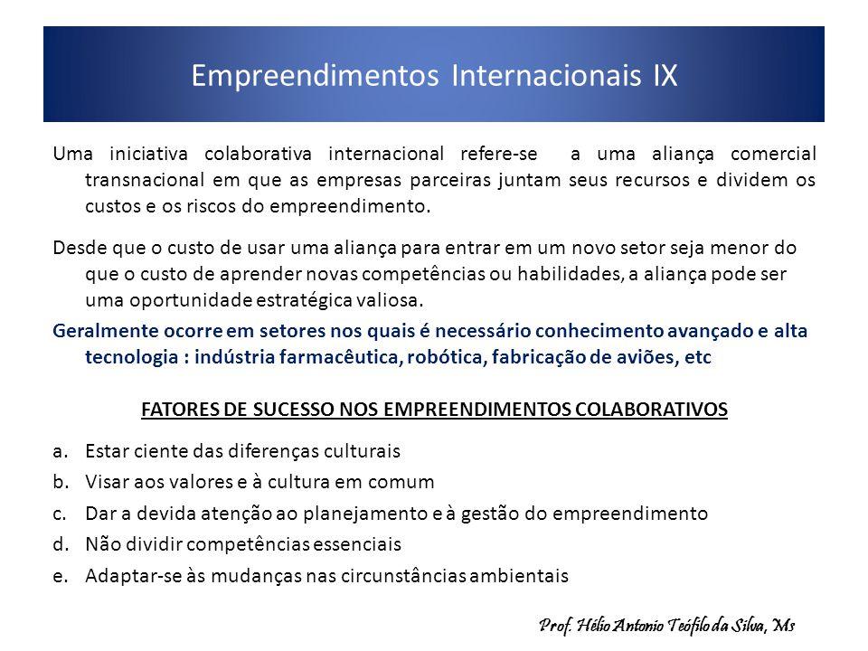 Empreendimentos Internacionais IX Uma iniciativa colaborativa internacional refere-se a uma aliança comercial transnacional em que as empresas parceiras juntam seus recursos e dividem os custos e os riscos do empreendimento.