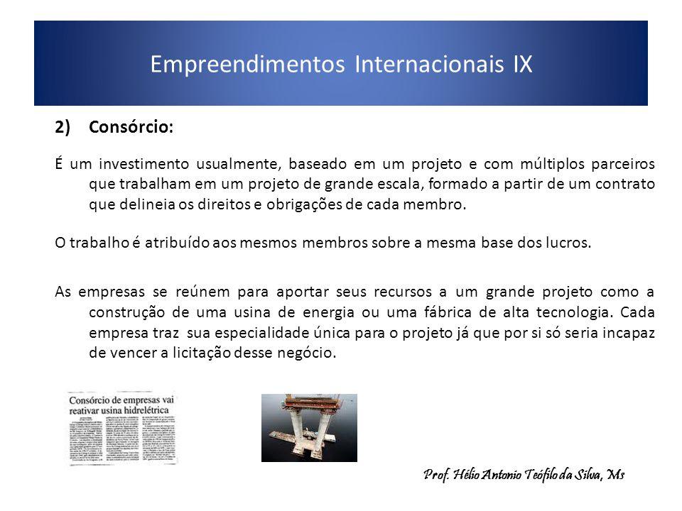 Empreendimentos Internacionais IX 2)Consórcio: É um investimento usualmente, baseado em um projeto e com múltiplos parceiros que trabalham em um projeto de grande escala, formado a partir de um contrato que delineia os direitos e obrigações de cada membro.