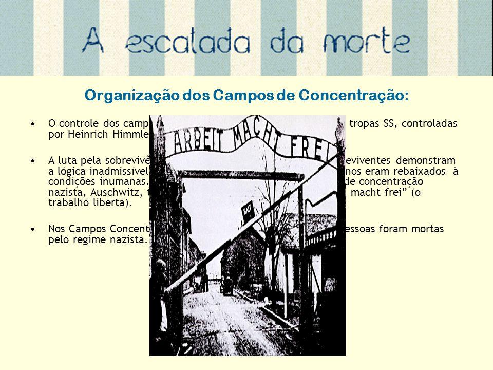 Organização dos Campos de Concentração: O controle dos campos de concentração era realizados pelas tropas SS, controladas por Heinrich Himmler. A luta