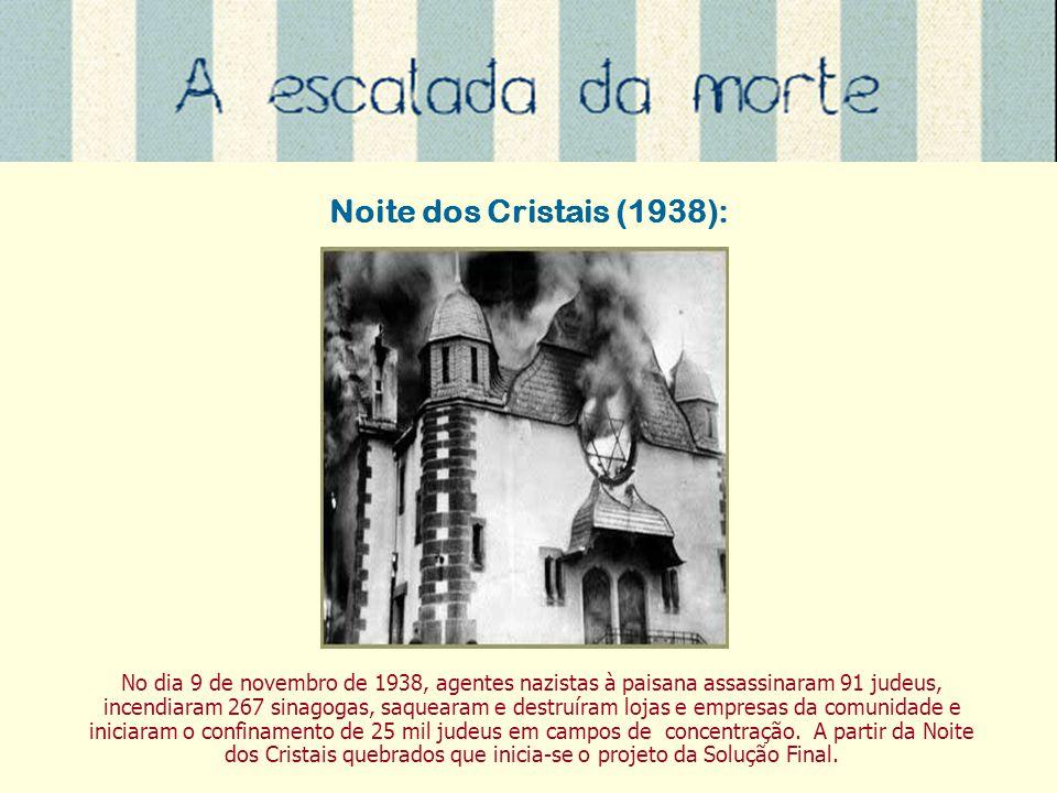 Noite dos Cristais (1938): No dia 9 de novembro de 1938, agentes nazistas à paisana assassinaram 91 judeus, incendiaram 267 sinagogas, saquearam e des
