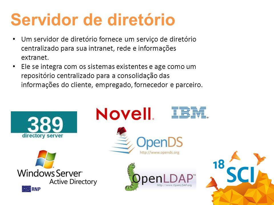 Um servidor de diretório fornece um serviço de diretório centralizado para sua intranet, rede e informações extranet.