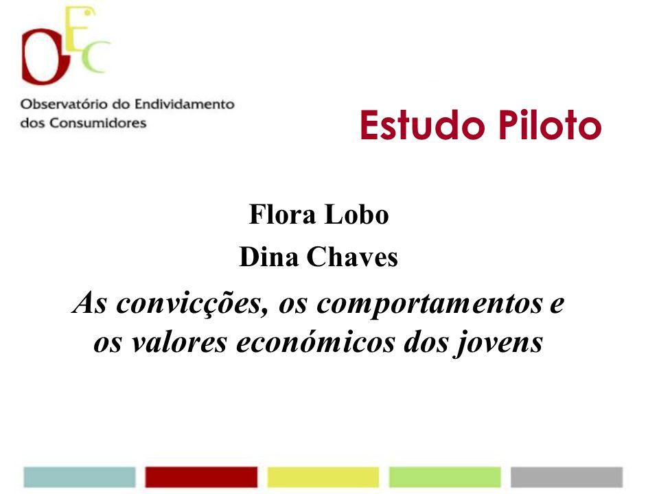 Estudo Piloto Flora Lobo Dina Chaves As convicções, os comportamentos e os valores económicos dos jovens