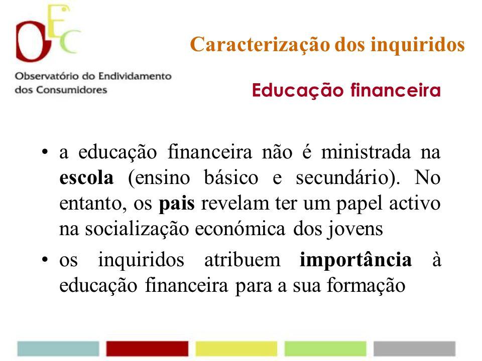 Educação financeira consideram importante poupar para: - comprar alguma coisa especial - o caso de precisar de dinheiro no futuro - elevar o nível de