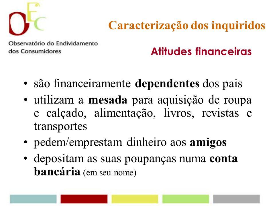 Educação financeira a educação financeira não é ministrada na escola (ensino básico e secundário). No entanto, os pais revelam ter um papel activo na