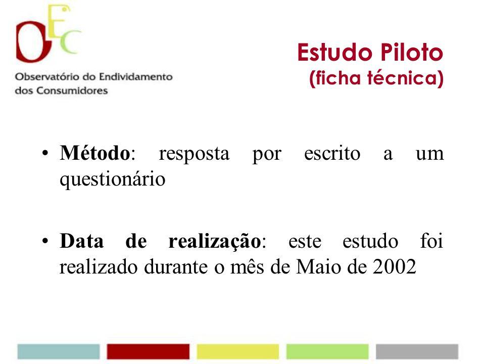 Estudo Piloto (ficha técnica) Método: resposta por escrito a um questionário Data de realização: este estudo foi realizado durante o mês de Maio de 2002