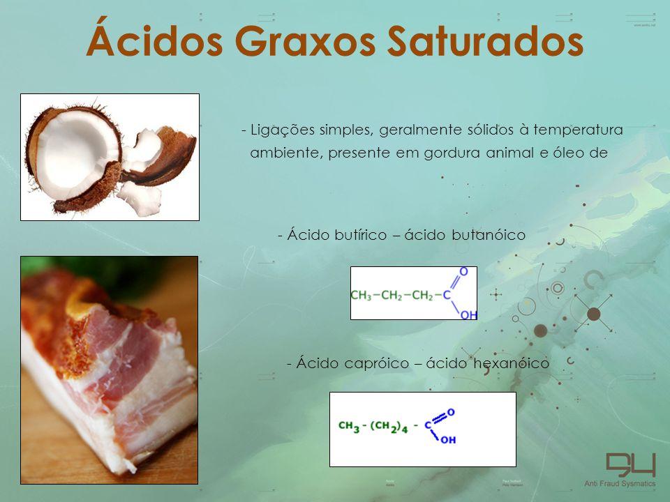 Ácidos Graxos Saturados - Ligações simples, geralmente sólidos à temperatura ambiente, presente em gordura animal e óleo de coco - Ácido butírico – ác