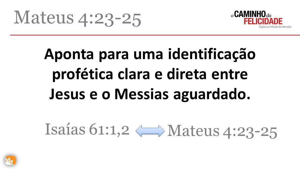 Aponta para uma identificação profética clara e direta entre Jesus e o Messias aguardado. Mateus 4:23-25 Isaías 61:1,2