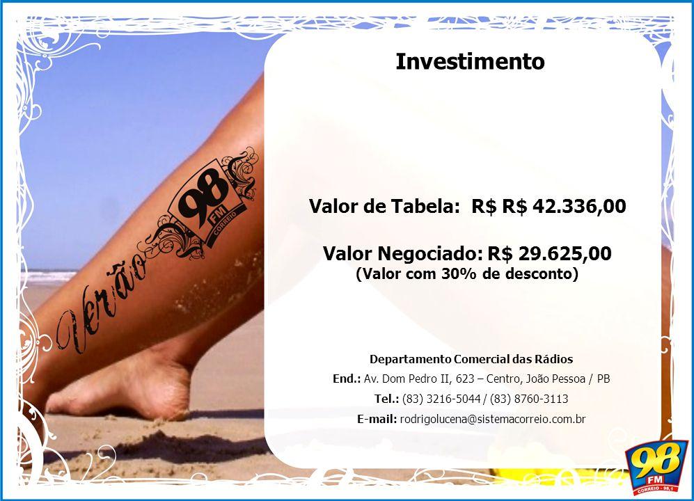 Valor de Tabela: R$ R$ 42.336,00 Valor Negociado: R$ 29.625,00 (Valor com 30% de desconto) Investimento Departamento Comercial das Rádios End.: Av.
