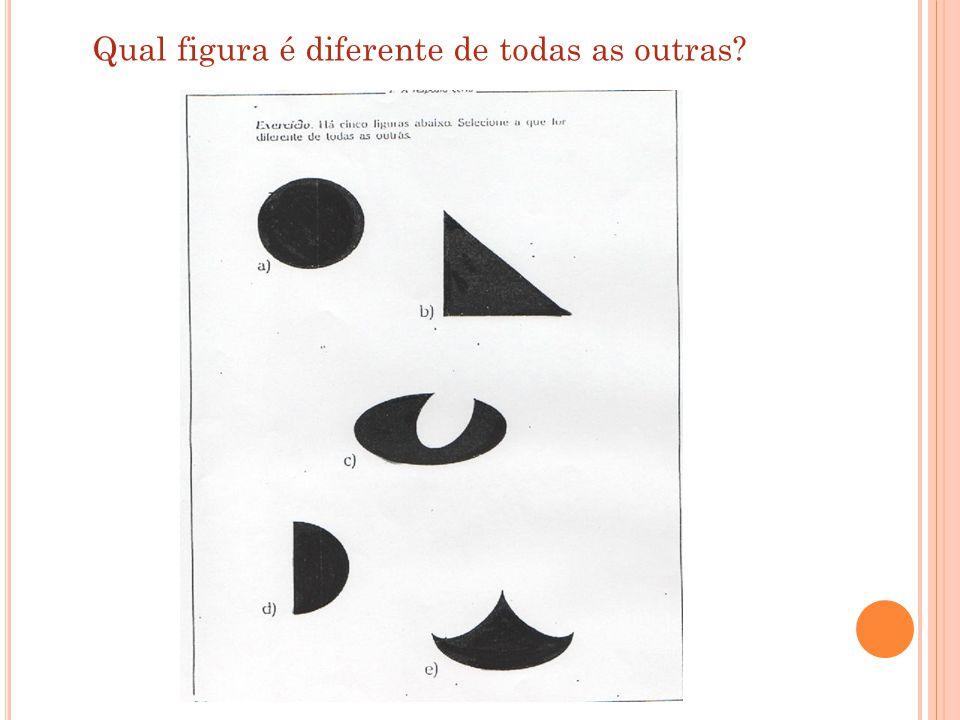 Qual figura é diferente de todas as outras?