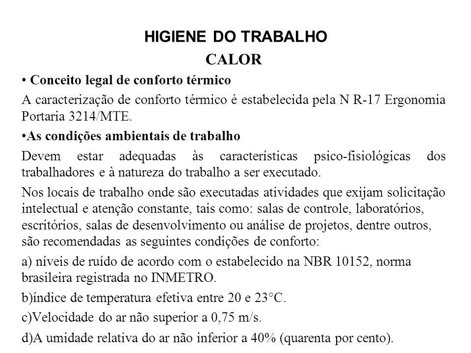 HIGIENE DO TRABALHO CALOR Conceito legal de conforto térmico A caracterização de conforto térmico é estabelecida pela N R-17 Ergonomia Portaria 3214/MTE.