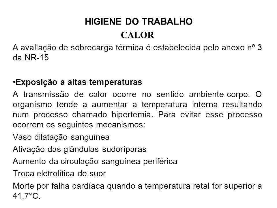 HIGIENE DO TRABALHO CALOR A avaliação de sobrecarga térmica é estabelecida pelo anexo nº 3 da NR-15 Exposição a altas temperaturas A transmissão de calor ocorre no sentido ambiente-corpo.