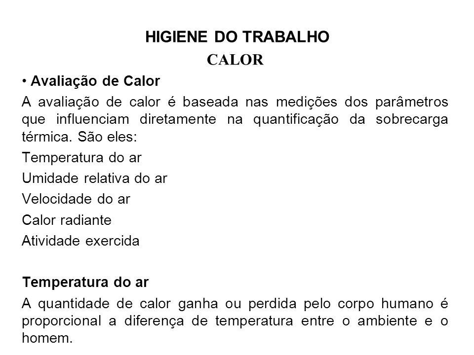 HIGIENE DO TRABALHO CALOR Avaliação de Calor A avaliação de calor é baseada nas medições dos parâmetros que influenciam diretamente na quantificação da sobrecarga térmica.