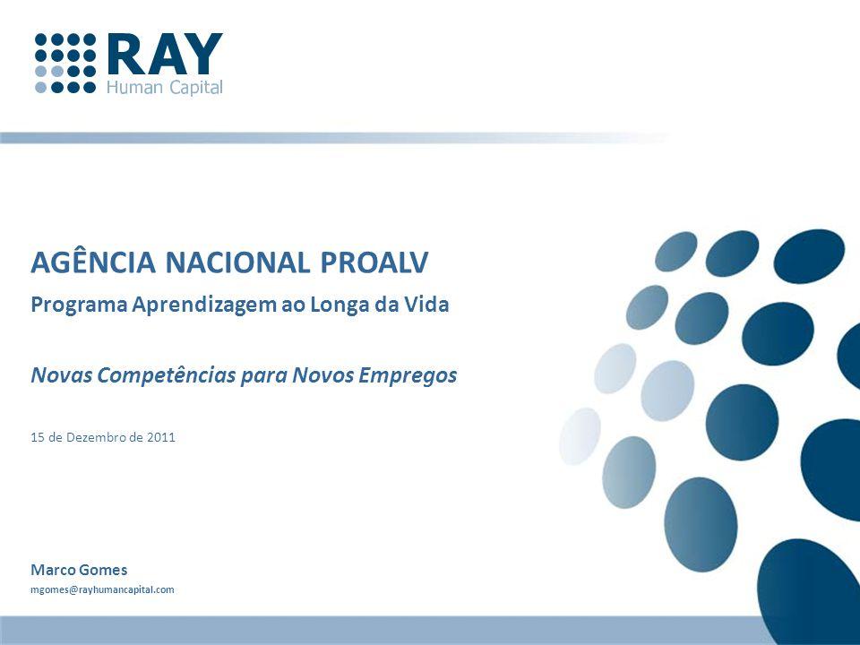 AGÊNCIA NACIONAL PROALV Programa Aprendizagem ao Longa da Vida Novas Competências para Novos Empregos 15 de Dezembro de 2011 Marco Gomes mgomes@rayhum