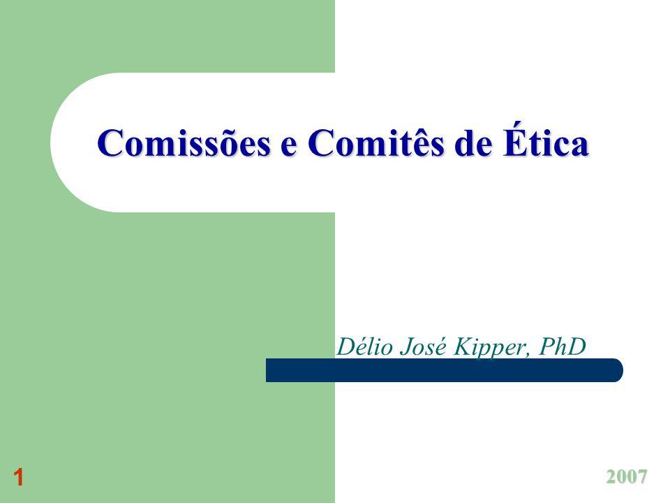 1 Comissões e Comitês de Ética Délio José Kipper, PhD 2007