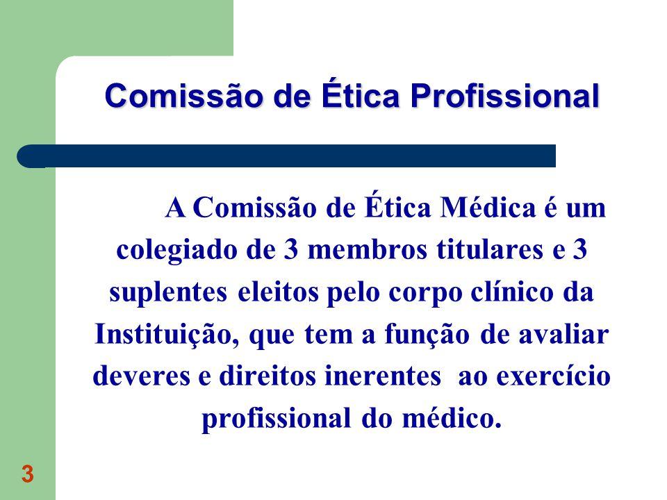 3 A Comissão de Ética Médica é um colegiado de 3 membros titulares e 3 suplentes eleitos pelo corpo clínico da Instituição, que tem a função de avaliar deveres e direitos inerentes ao exercício profissional do médico.