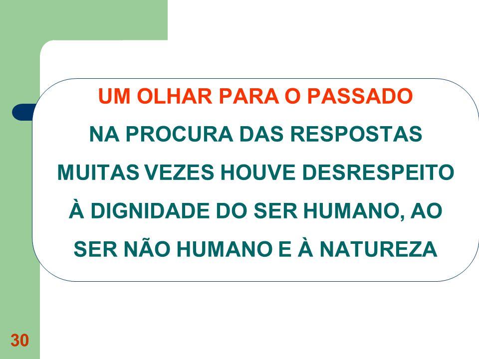 30 UM OLHAR PARA O PASSADO NA PROCURA DAS RESPOSTAS MUITAS VEZES HOUVE DESRESPEITO À DIGNIDADE DO SER HUMANO, AO SER NÃO HUMANO E À NATUREZA