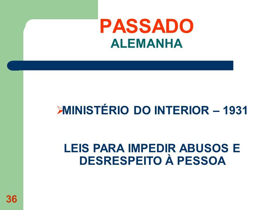 36 PASSADO ALEMANHA MINISTÉRIO DO INTERIOR – 1931 LEIS PARA IMPEDIR ABUSOS E DESRESPEITO À PESSOA