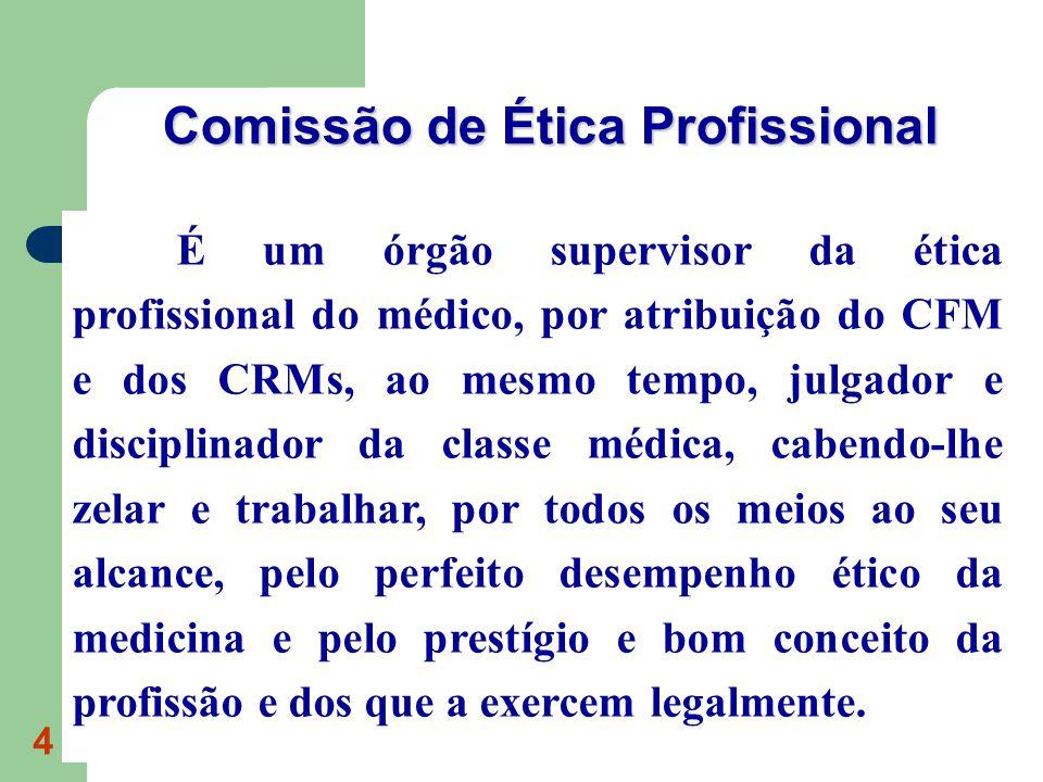 4 É um órgão supervisor da ética profissional do médico, por atribuição do CFM e dos CRMs, ao mesmo tempo, julgador e disciplinador da classe médica,