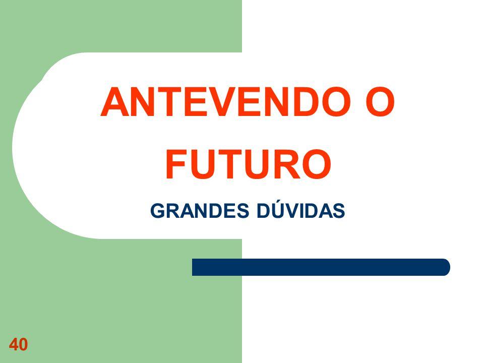 40 ANTEVENDO O FUTURO GRANDES DÚVIDAS