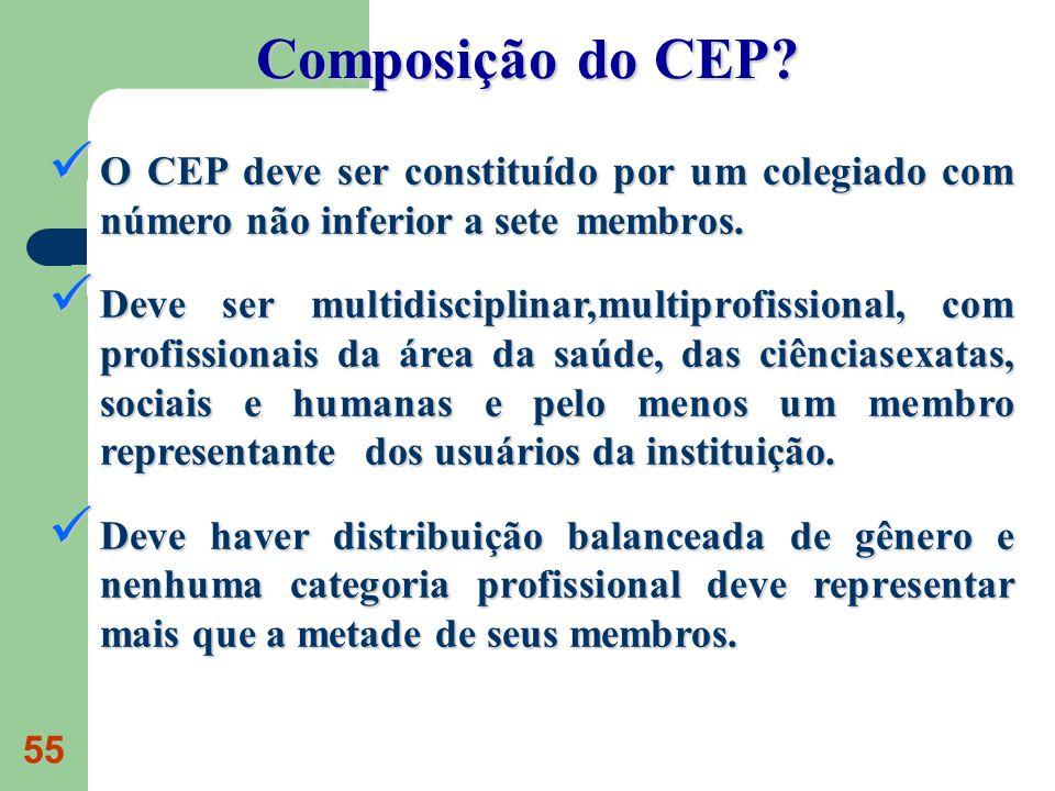 55 O CEP deve ser constituído por um colegiado com número não inferior a sete membros. O CEP deve ser constituído por um colegiado com número não infe