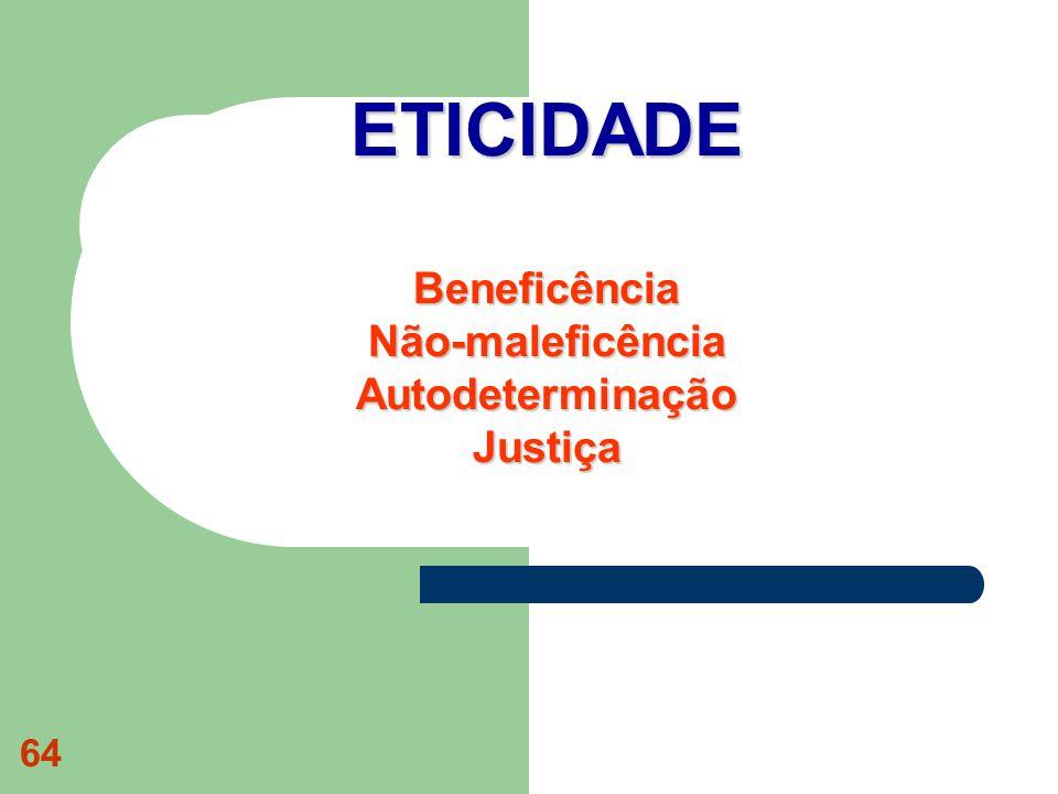 64 ETICIDADE Beneficência Não-maleficência Autodeterminação Justiça