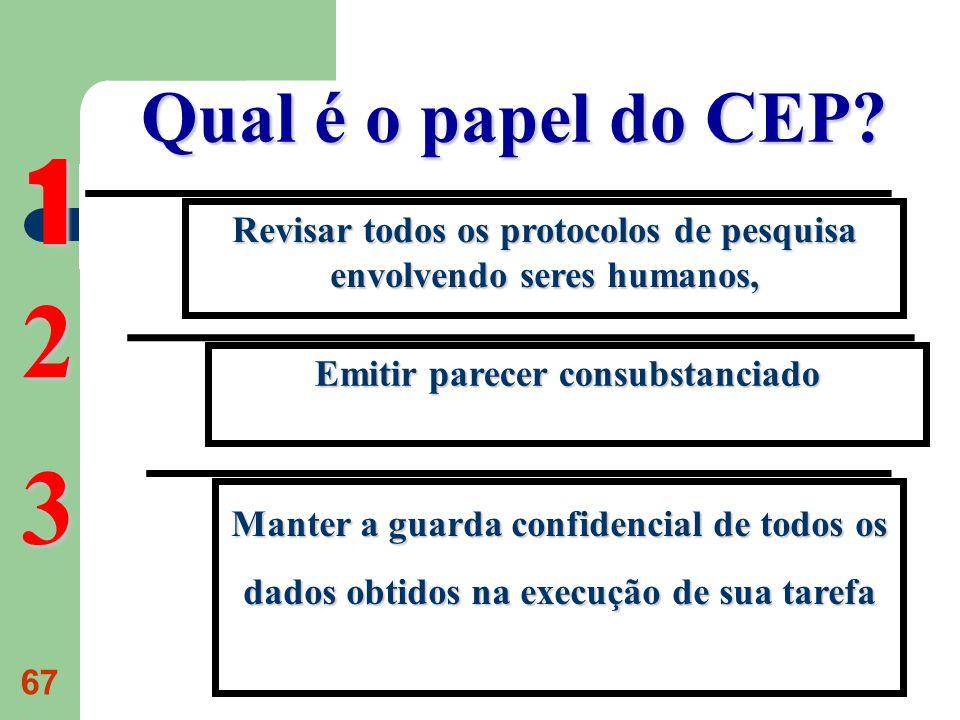 67 Qual é o papel do CEP? Revisar todos os protocolos de pesquisa envolvendo seres humanos, 1 Emitir parecer consubstanciado 2 Manter a guarda confide