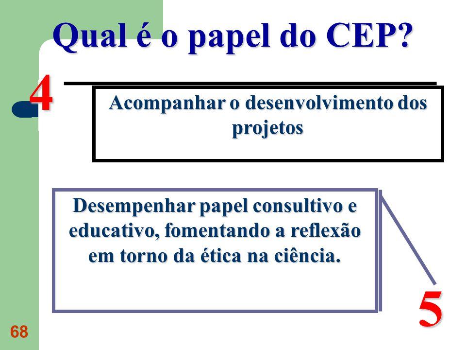 68 Qual é o papel do CEP? Acompanhar o desenvolvimento dos projetos 4 Desempenhar papel consultivo e educativo, fomentando a reflexão em torno da étic