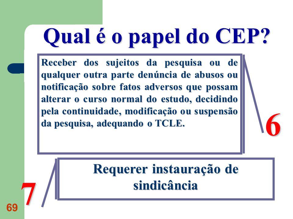 69 Qual é o papel do CEP.