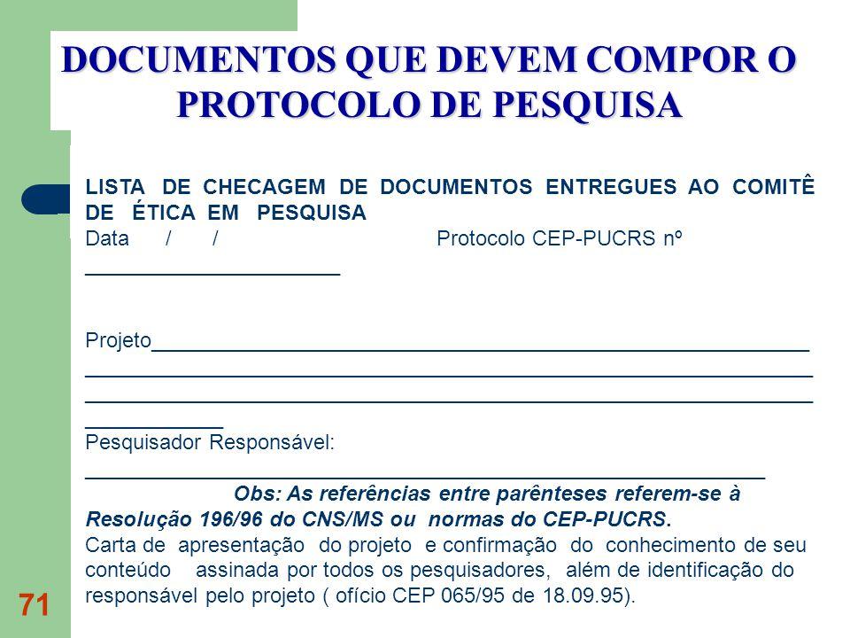 71 DOCUMENTOS QUE DEVEM COMPOR O PROTOCOLO DE PESQUISA LISTA DE CHECAGEM DE DOCUMENTOS ENTREGUES AO COMITÊ DE ÉTICA EM PESQUISA Data / / Protocolo CEP-PUCRS nº ______________________ Projeto________________________________________________________ ______________________________________________________________ ______________________________________________________________ ____________ Pesquisador Responsável: __________________________________________________________ Obs: As referências entre parênteses referem-se à Resolução 196/96 do CNS/MS ou normas do CEP-PUCRS.