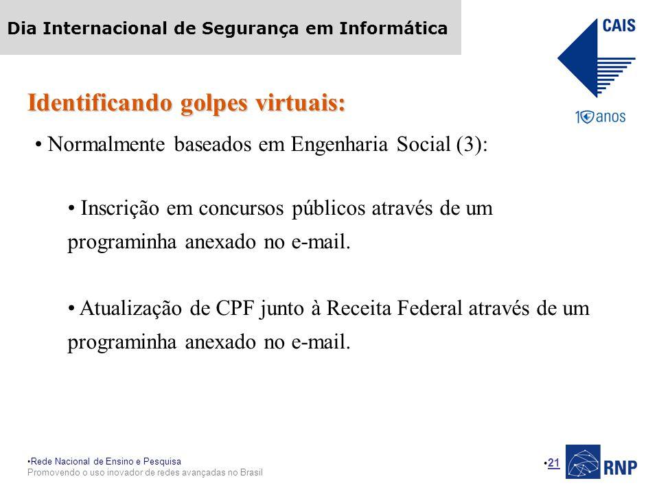 Rede Nacional de Ensino e Pesquisa Promovendo o uso inovador de redes avançadas no Brasil Dia Internacional de Segurança em Informática 21 Identifican