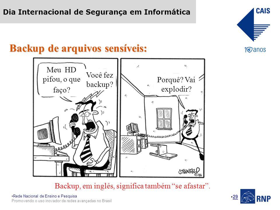 Rede Nacional de Ensino e Pesquisa Promovendo o uso inovador de redes avançadas no Brasil Dia Internacional de Segurança em Informática 29 Backup de a