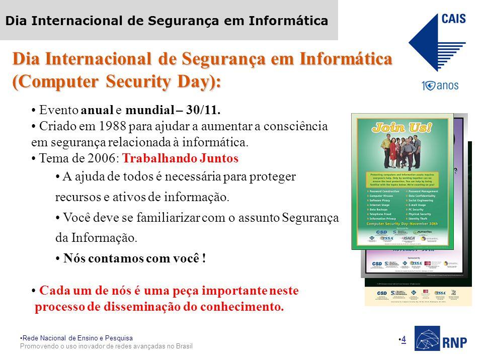 Rede Nacional de Ensino e Pesquisa Promovendo o uso inovador de redes avançadas no Brasil Dia Internacional de Segurança em Informática 4 Dia Internacional de Segurança em Informática (Computer Security Day): Evento anual e mundial – 30/11.