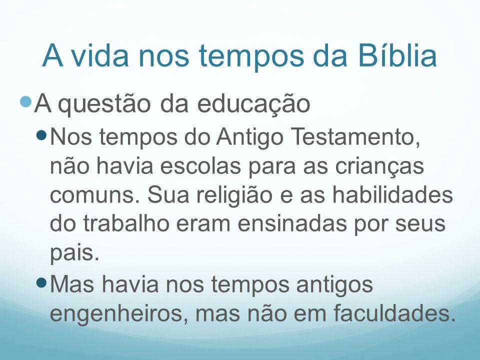 A vida nos tempos da Bíblia A questão da educação Nos tempos do Antigo Testamento, não havia escolas para as crianças comuns. Sua religião e as habili