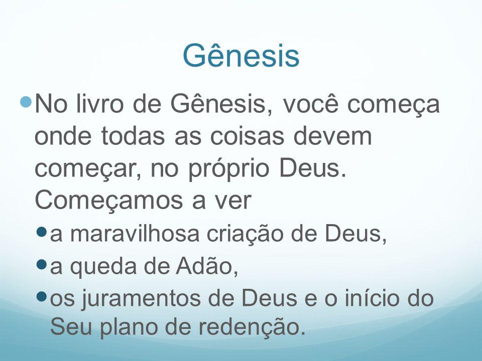 Gênesis No livro de Gênesis, você começa onde todas as coisas devem começar, no próprio Deus. Começamos a ver a maravilhosa criação de Deus, a queda d