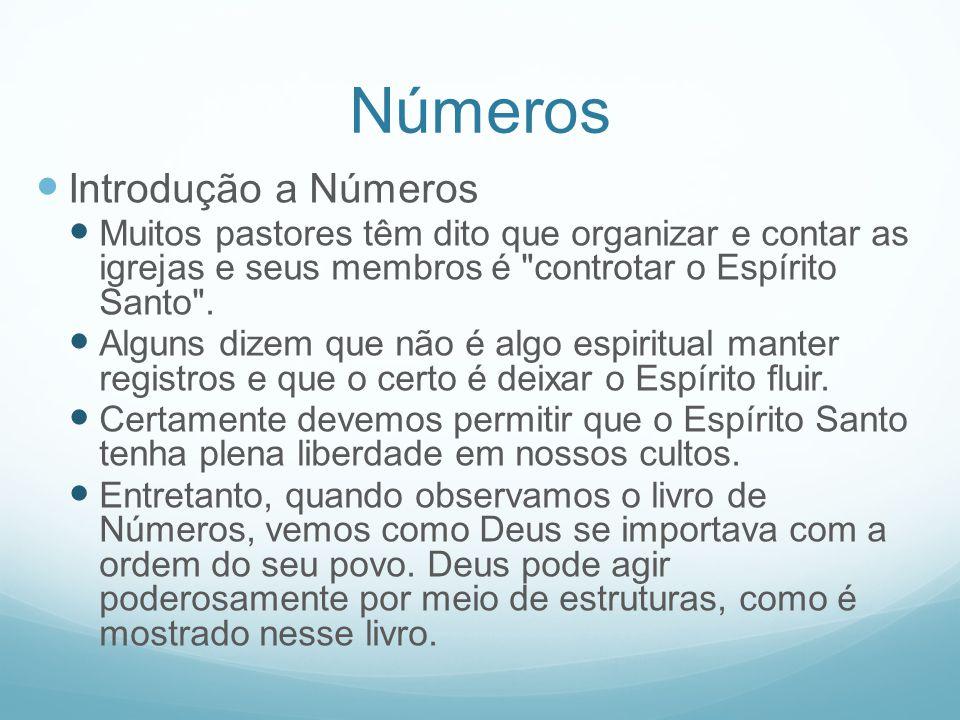 Números Introdução a Números Muitos pastores têm dito que organizar e contar as igrejas e seus membros é