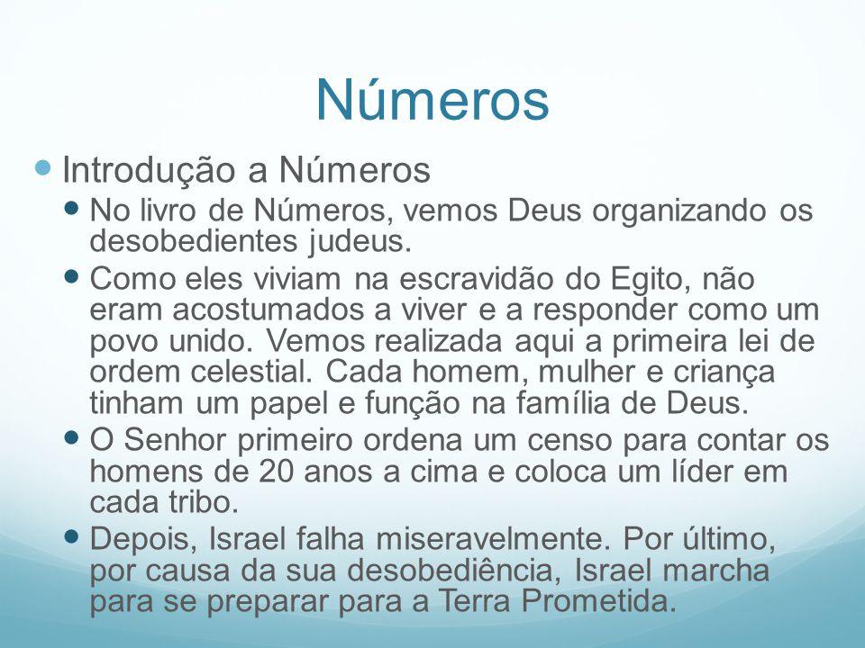 Números Introdução a Números No livro de Números, vemos Deus organizando os desobedientes judeus. Como eles viviam na escravidão do Egito, não eram ac