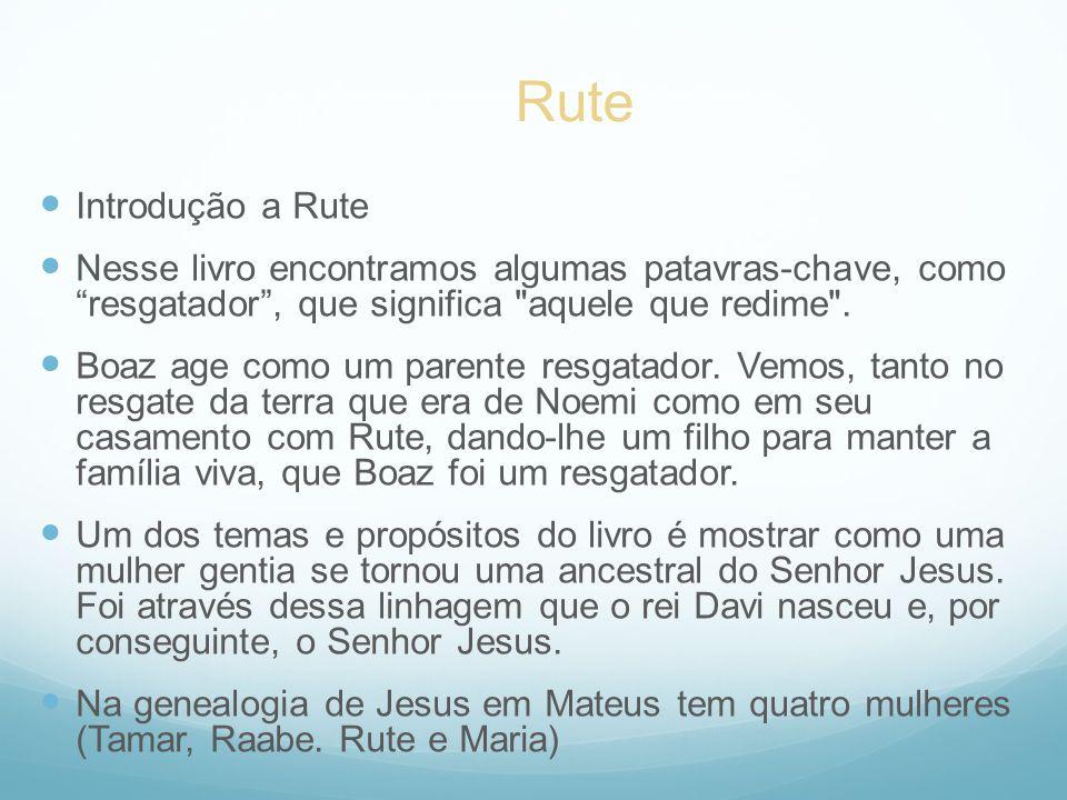 Introdução a Rute Nesse livro encontramos algumas patavras-chave, como resgatador, que significa