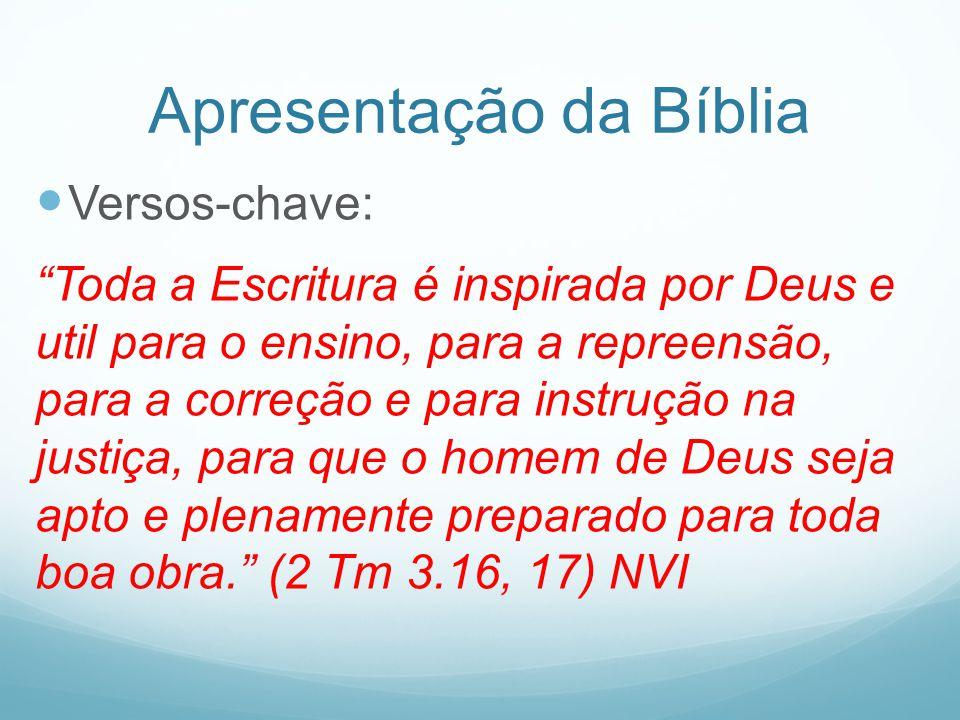 Apresentação da Bíblia Versos-chave: Toda a Escritura é inspirada por Deus e util para o ensino, para a repreensão, para a correção e para instrução n