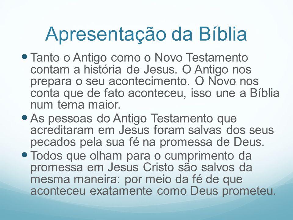 Apresentação da Bíblia Tanto o Antigo como o Novo Testamento contam a história de Jesus. O Antigo nos prepara o seu acontecimento. O Novo nos conta qu