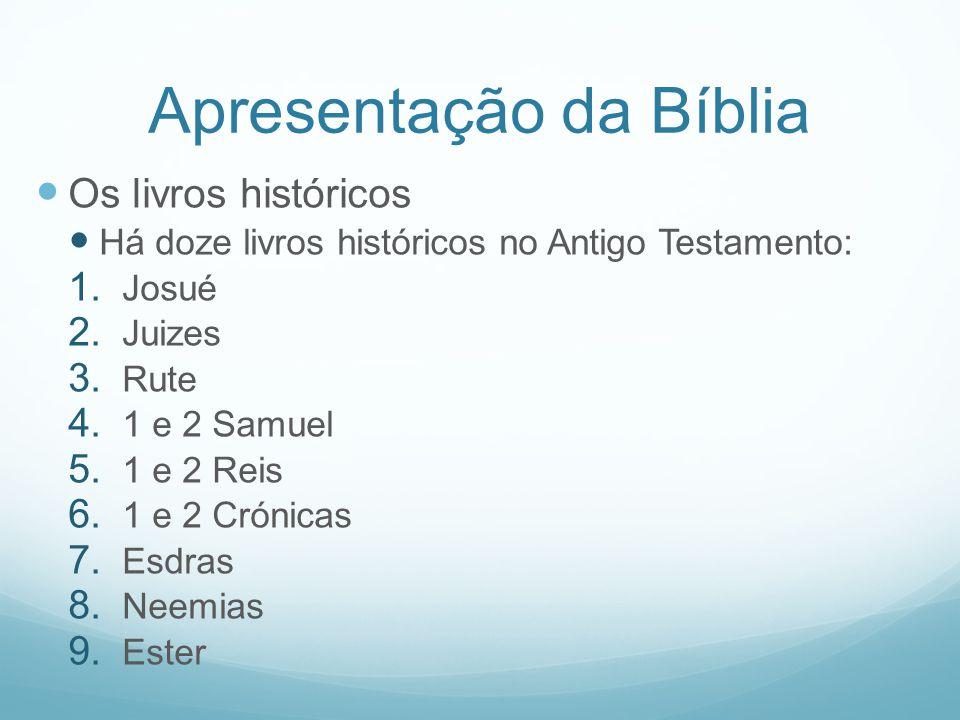 Apresentação da Bíblia Os livros históricos Há doze livros históricos no Antigo Testamento: 1. Josué 2. Juizes 3. Rute 4. 1 e 2 Samuel 5. 1 e 2 Reis 6