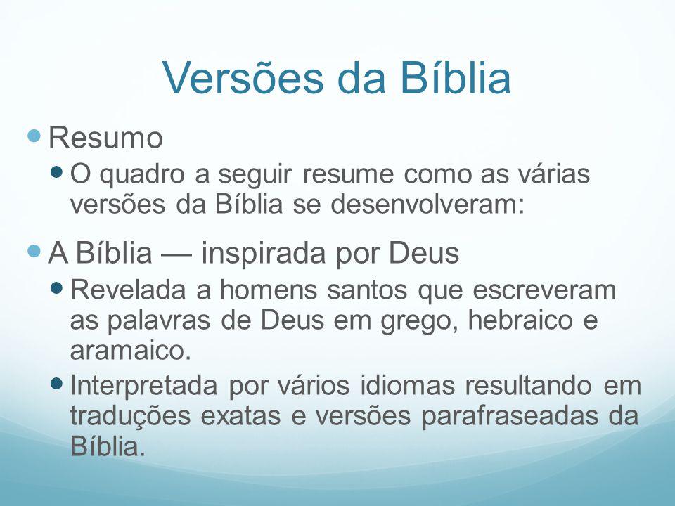 Versões da Bíblia Resumo O quadro a seguir resume como as várias versões da Bíblia se desenvolveram: A Bíblia inspirada por Deus Revelada a homens san
