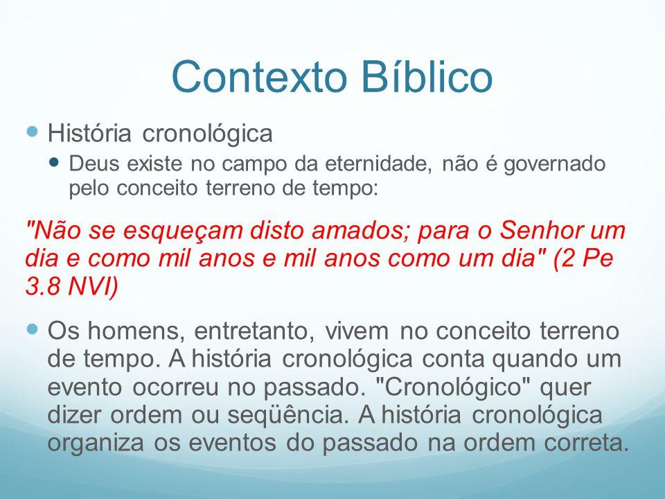 Contexto Bíblico História cronológica Deus existe no campo da eternidade, não é governado pelo conceito terreno de tempo: