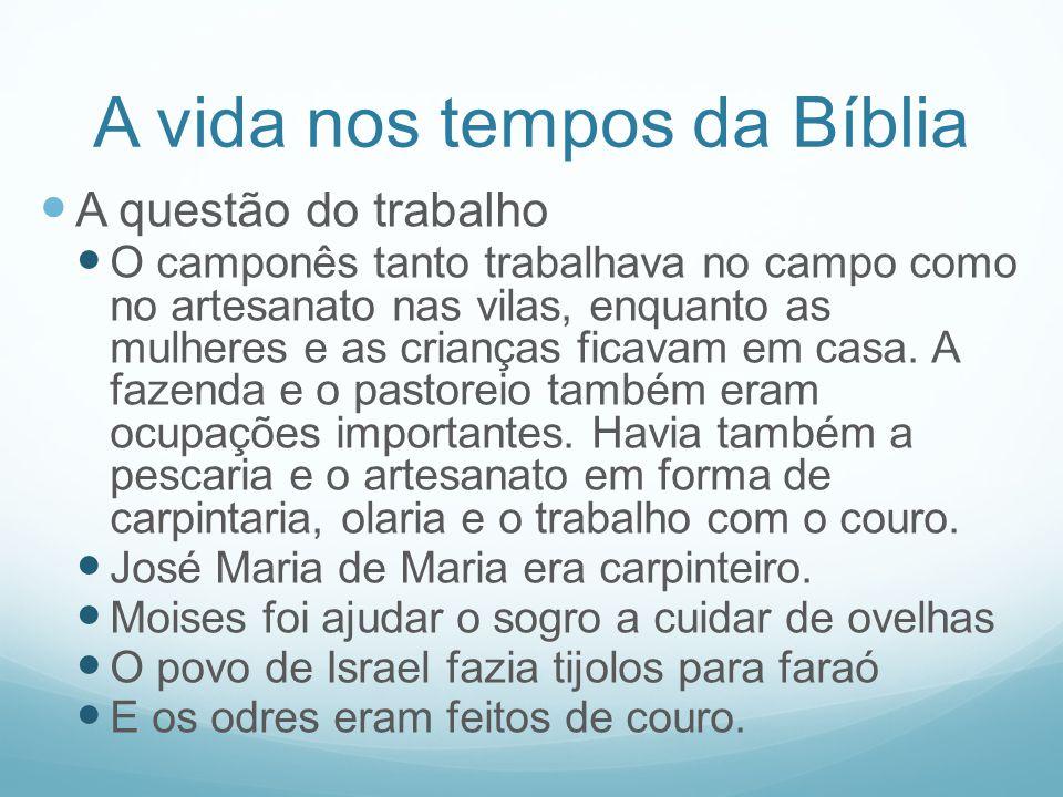 A vida nos tempos da Bíblia A questão do trabalho O camponês tanto trabalhava no campo como no artesanato nas vilas, enquanto as mulheres e as criança