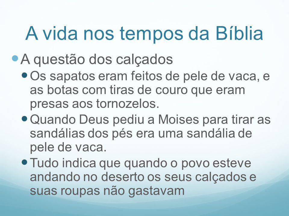 A vida nos tempos da Bíblia A questão dos calçados Os sapatos eram feitos de pele de vaca, e as botas com tiras de couro que eram presas aos tornozelo