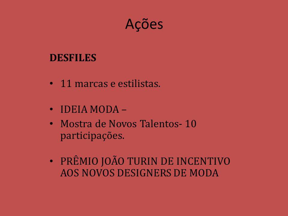 Ações DESFILES 11 marcas e estilistas. IDEIA MODA – Mostra de Novos Talentos- 10 participações. PRÊMIO JOÃO TURIN DE INCENTIVO AOS NOVOS DESIGNERS DE